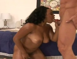 Ultra hawt ebony stunner Stacie Lane with round booty and trimmed fur pie suggests her snatch to hawt man in interracial action