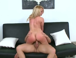 Blond Tarzan with gigantic tits and smooth cunt gets down and dirty in cum flying sex action