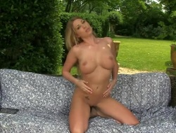 Lexi Lowe with huge scones and hairless cunt strips and masturbates