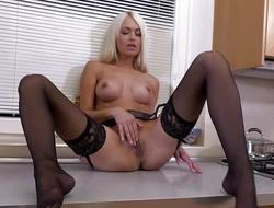 Marvelous busty blonde MILF masturbating