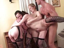 Young stud banging three hot matures