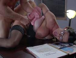 Four-eyed sexy milf Ariella Ferrera with huge boobs is a sexy fuck hungry warden. This babe gets her needy pussy fucked damn hard by prisoner Johnny Sins in her office. He fucks the shit without buxom woman