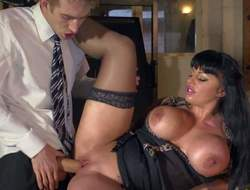 Kerry Louise is a sex obsessed busty teacher with impure thoughts on her mind. Woman in black stockings pulls out her giant tits and opens her legs. Danny D sticks his large cock in her wet vagina. See large racked slut get shagged