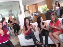 Girls are going wild at a bachelorette party. A stripper is making his show and he ends up having group sex with two of the women while the rest cheer on.
