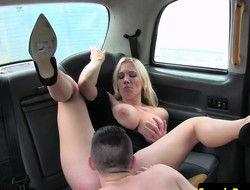 Busty cabbie MILF pleasured by male student