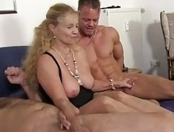 XxxOmas - Mature blondie acquires her wet crack pounded hard in German 3some