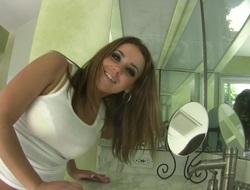 Natasha Nice washes her feet for the camera