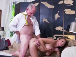 Gorgeous babe Ivy Rose screwed by two old men